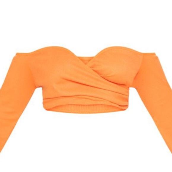 eda72db1a48e1b Pretty little thing Orange ribbed Bardot top US 14